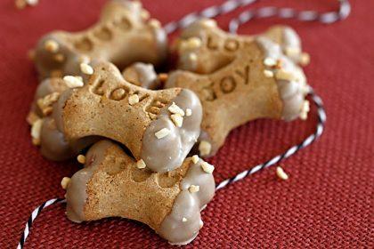 Carob dipped dog treats with peanut sprinkles