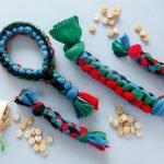 DIY fleece loop dog tug toy with handle tail stick tug