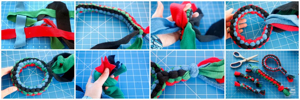 Weaving a DIY fleece loop dog tug toy