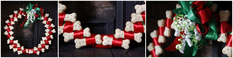 DIY Christmas wreath made with dog treats