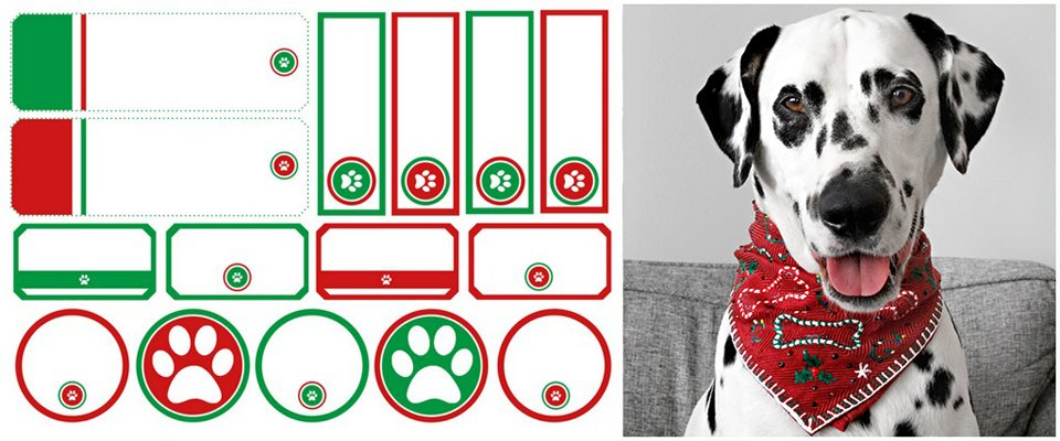 Free red and green Christmas paw print dog treat or gift tags and labels