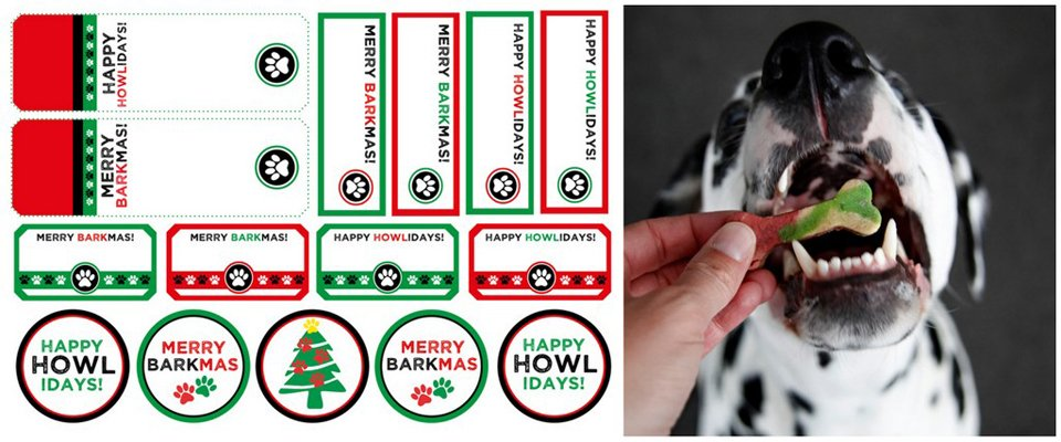 Free Christmas dog treat or gift tags and labels