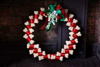 DIY dog bone treat Christmas wreath