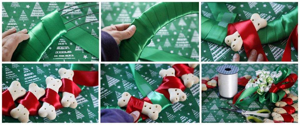 How to make a dog bone treat Christmas wreath