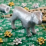 DIY faux metallic painted papier mache dog statue