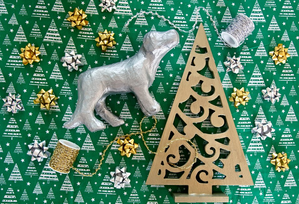 DIY hammered metal painted dog statue and Christmas tree decoration
