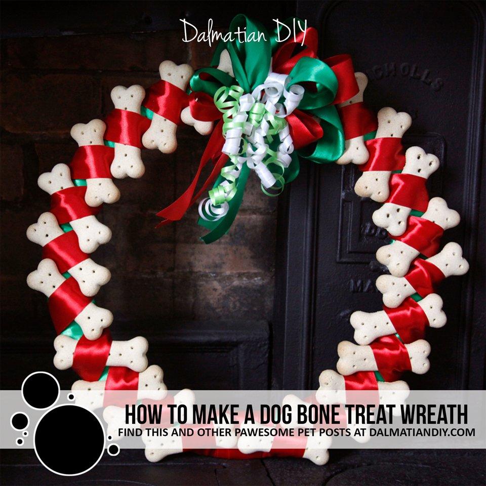 How to make a dog bone treat wreath