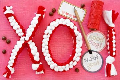 DIY XO hugs and kisses Valentine's Day dog tug toys
