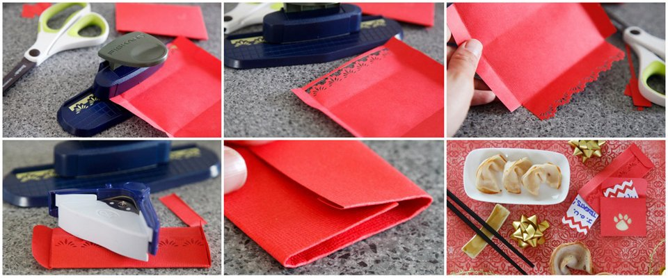 Making red envelopes for Chinese New Year dog gifts