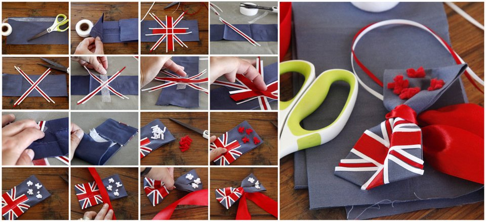 Making no-sew DIY New Zealand and Australian flag dog bow ties