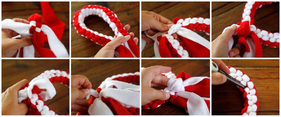 Weaving a circle dog tug toy