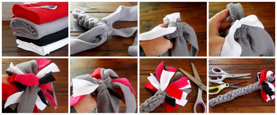 Making a DIY Valentine's Day Cupid's arrow dog tug toy