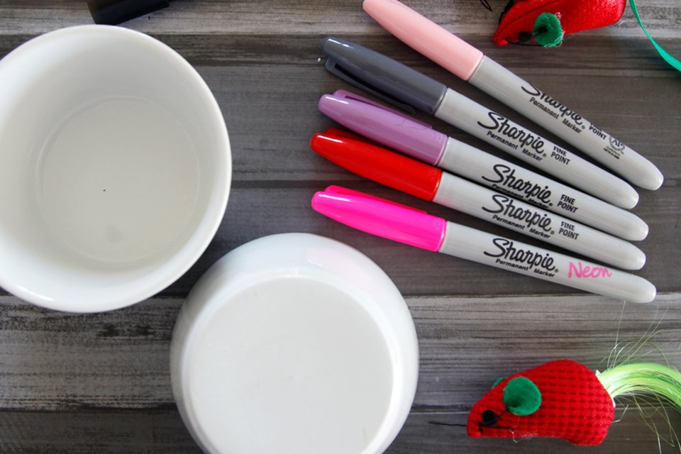 Making custom cat dishes using Sharpie markers