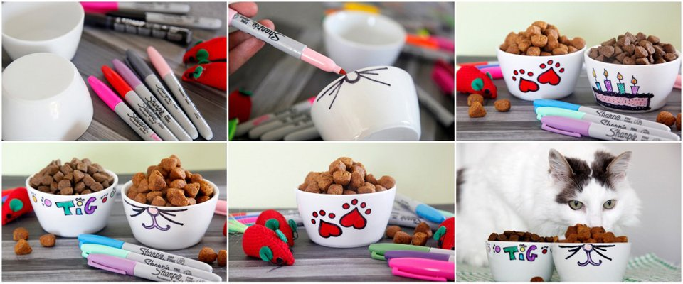 Making DIY custom Sharpie marker pet bowls