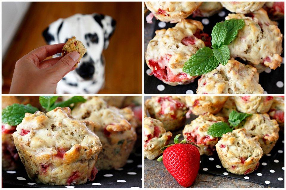 Dog-friendly strawberry banana mini muffin dog treats