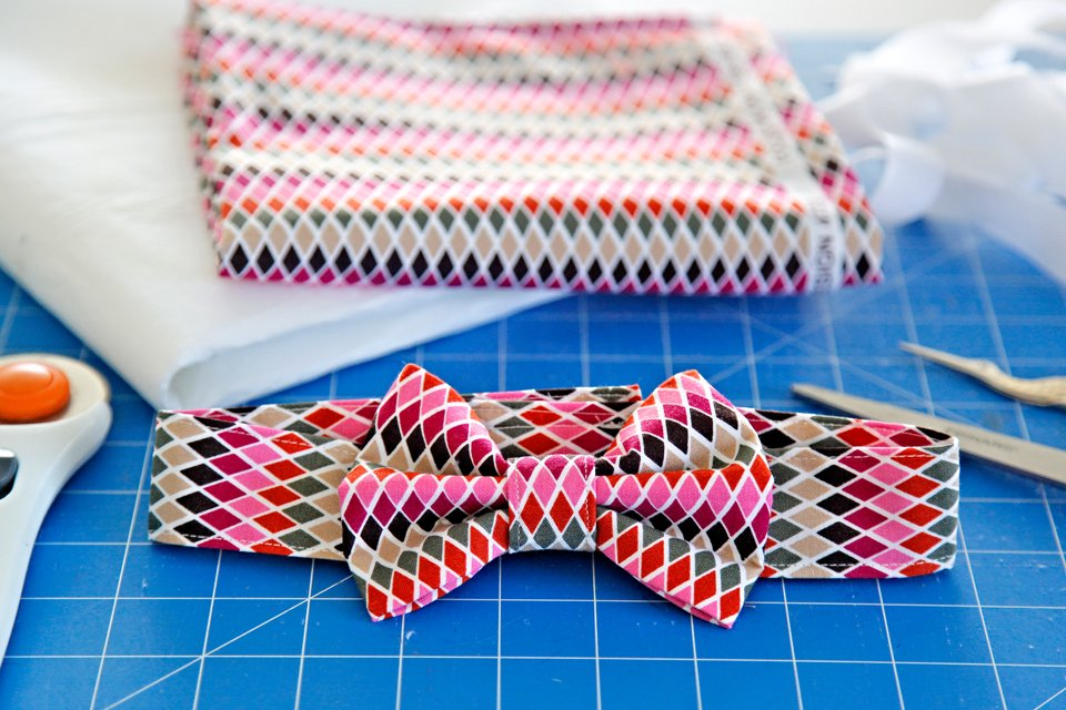 How to sew a DIY dog bow tie with slide and fancy dress collar