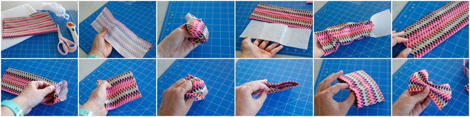 Step-by-step sewing a looped DIY dog bow tie from a single piece of fabric