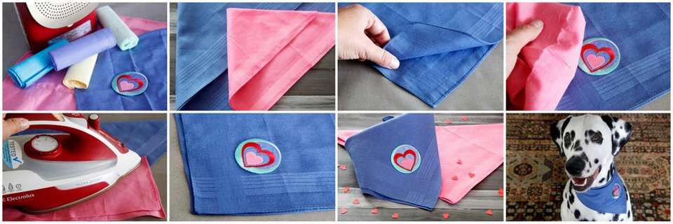 Making an easy DIY Valentine's Day dog bandana with a handkerchief and iron-on patch