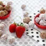 Homemade strawberry banana truffle dog treats