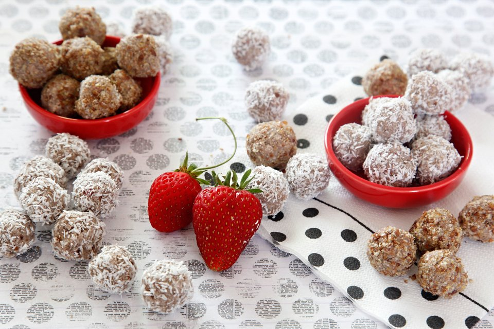 Homemade strawberry banana truffle dog treats