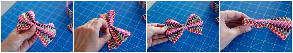 Folding a DIY dog bow tie and sliding a loop into the middle