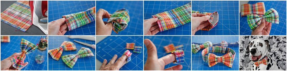 How to sew a DIY double loop dog bow tie