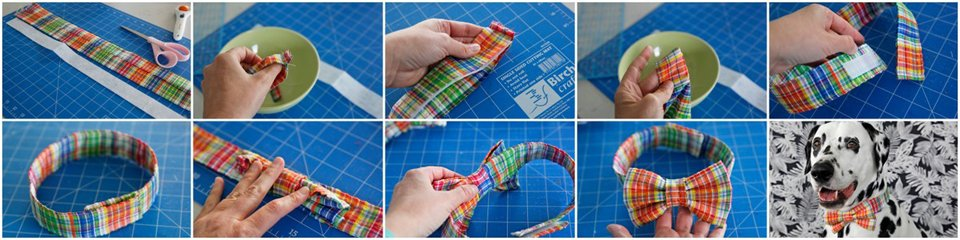 How to sew a simple fancy dress dog collar for wearing a bow tie