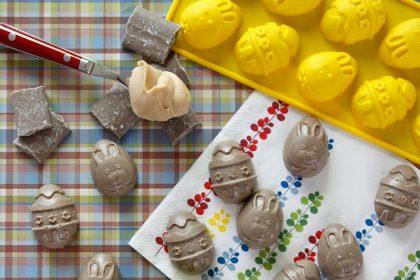 Homemade peanut butter carob Easter egg dog treats