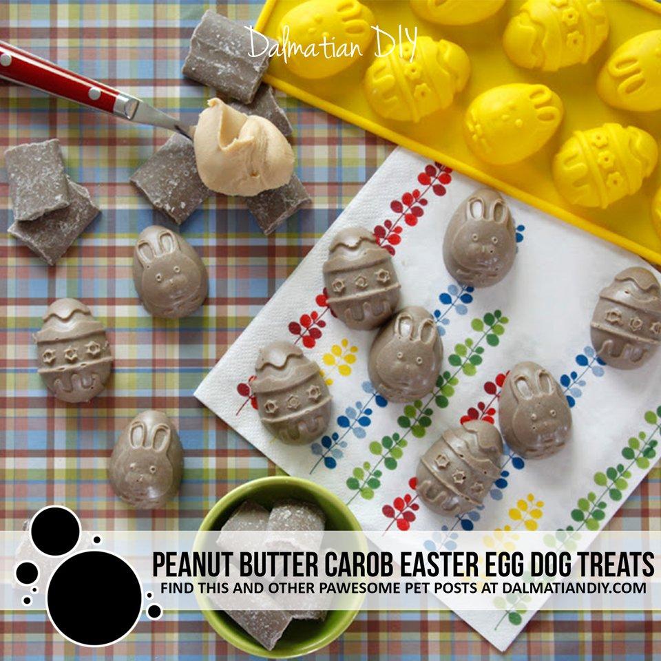 Homemade Peanut Butter and Carob Easter Egg Dog Treats