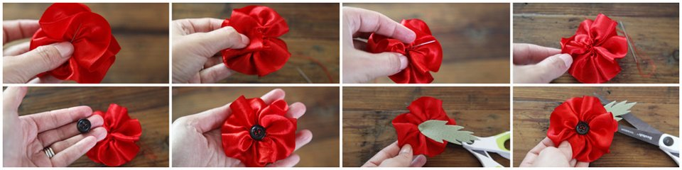 How to make a gathered ribbon poppy