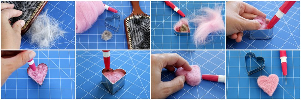 How to needle felt a heart shape with pet fur