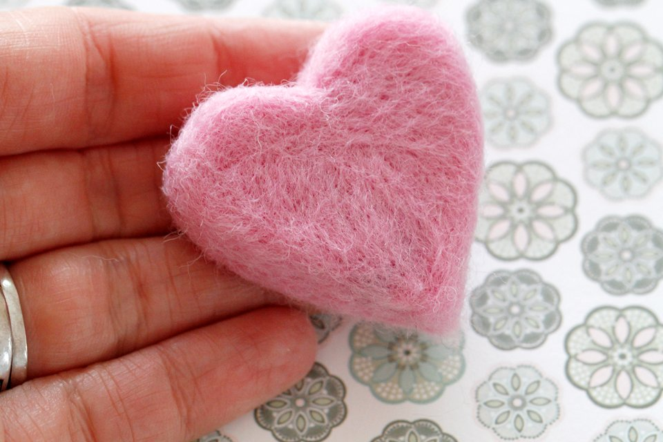 DIY needle felted heart made with pet fur