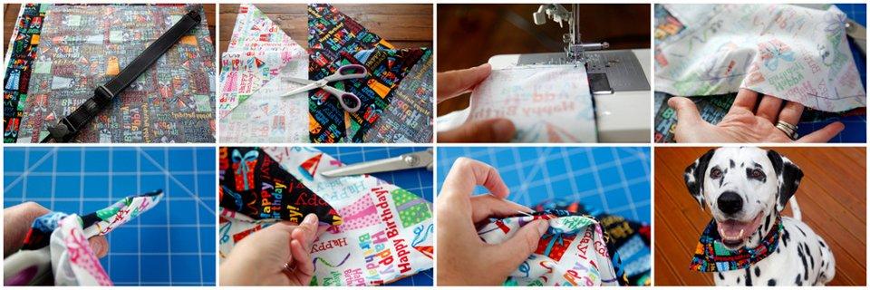 Sewing reversible DIY dog birthday bandanas