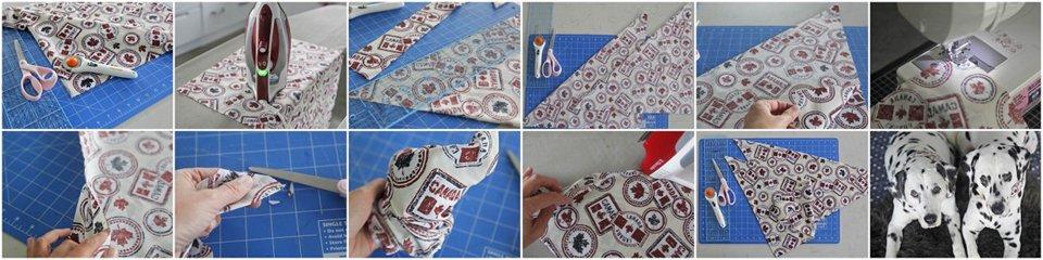Sewing a DIY reversible Canada Day dog bandana
