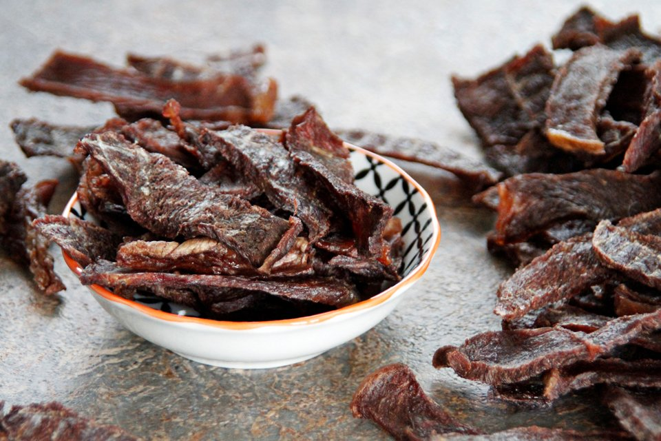 Homemade dehydrated beef jerky dog treats