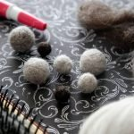 Homemade needle felted balls made with pet fur from our dogs and cat