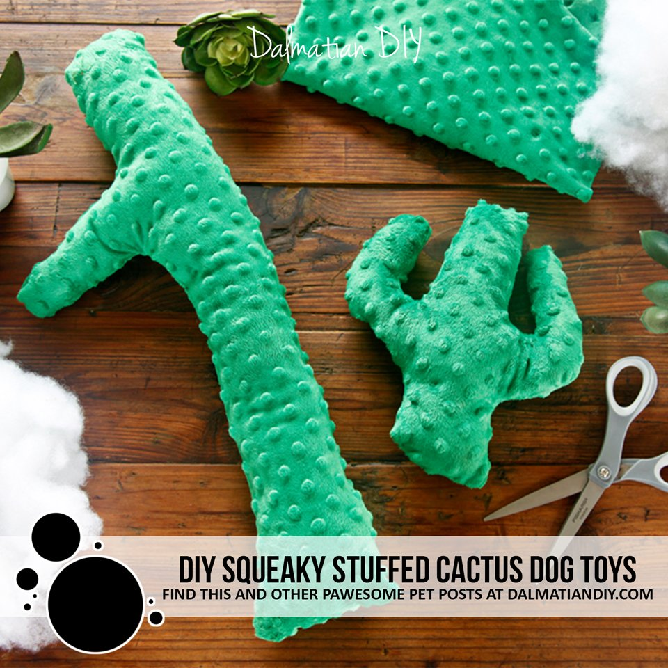 DIY squeaky stuffed cactus dog toys