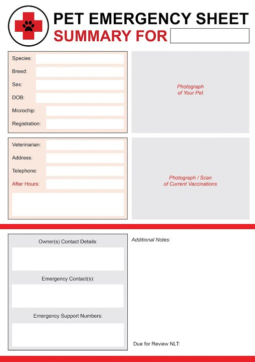 Free pet emergency information printable - blank