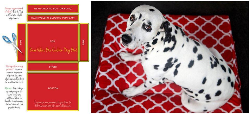 Diagram for making a DIY box cushion dog bed cushion cover