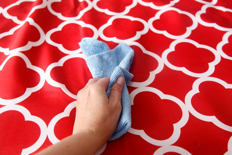 Wiping a waterproof dog bed cover