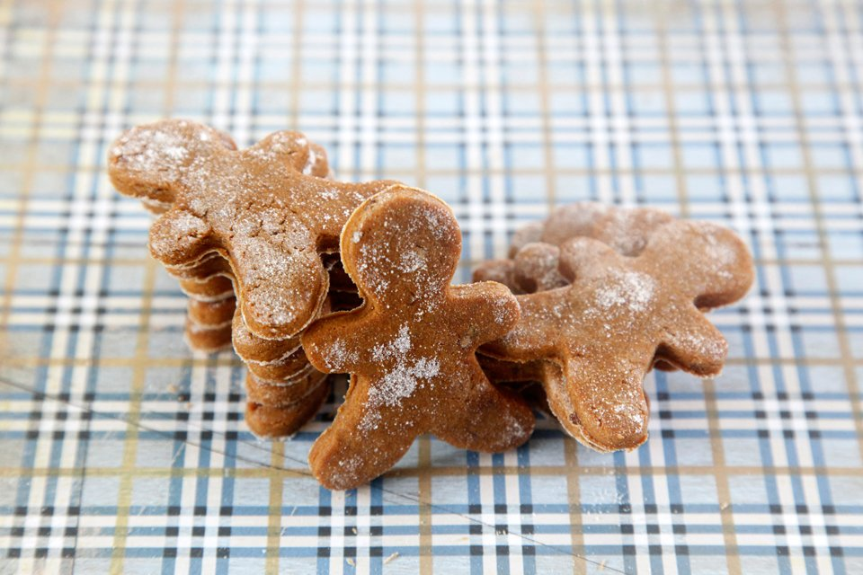 Homemade peanut butter and molasses gingerbread dog treats