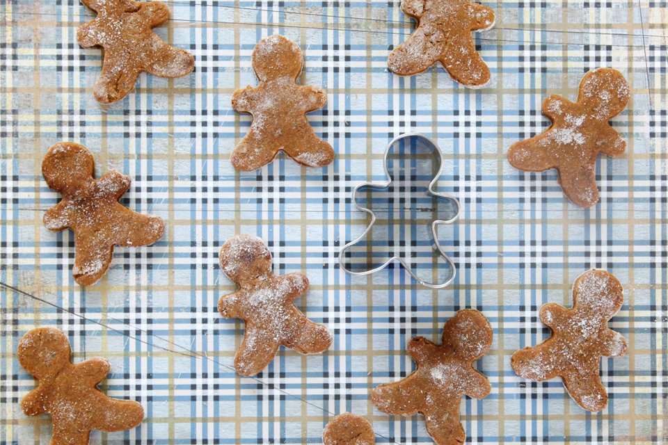 Peanut butter and molasses gingerbread dog treats