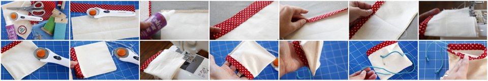 Making a drawstring dog treat bag with accent fabric sleeve