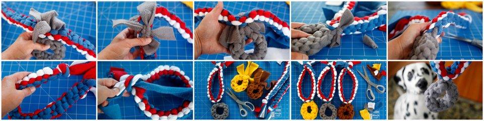 Making woven fleece medal dog tug toys
