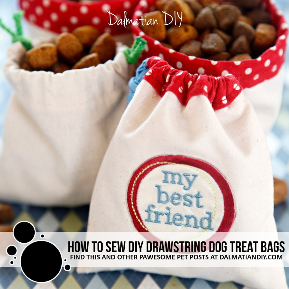 How to Sew Drawstring Dog Treat Bags
