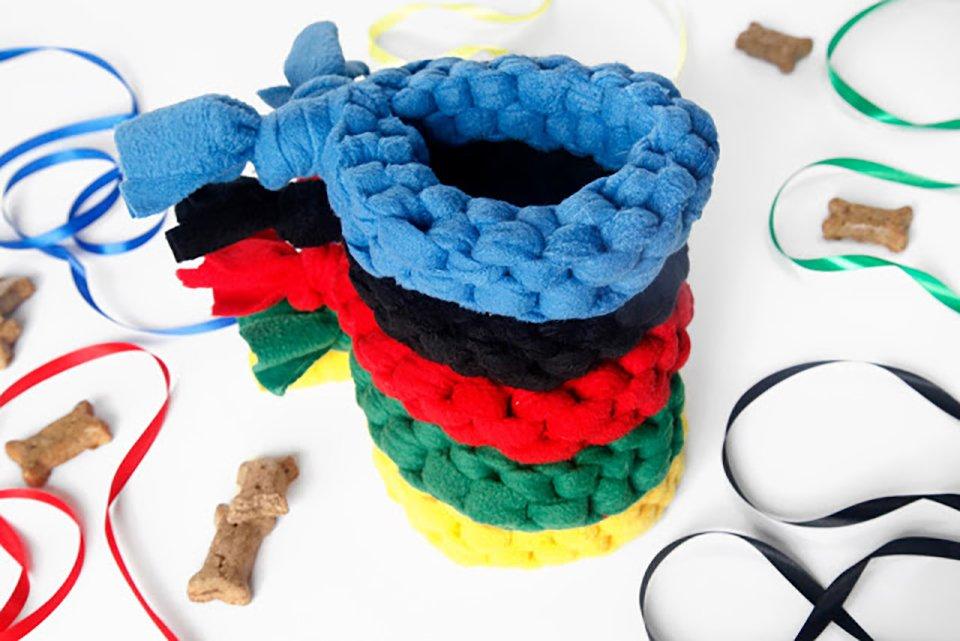 Olympic ring inspired colourful loop DIY fleece dog tug toys