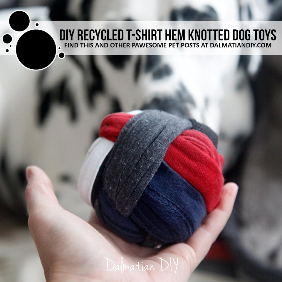 DIY recycled t-shirt hem knotted ball dog toy
