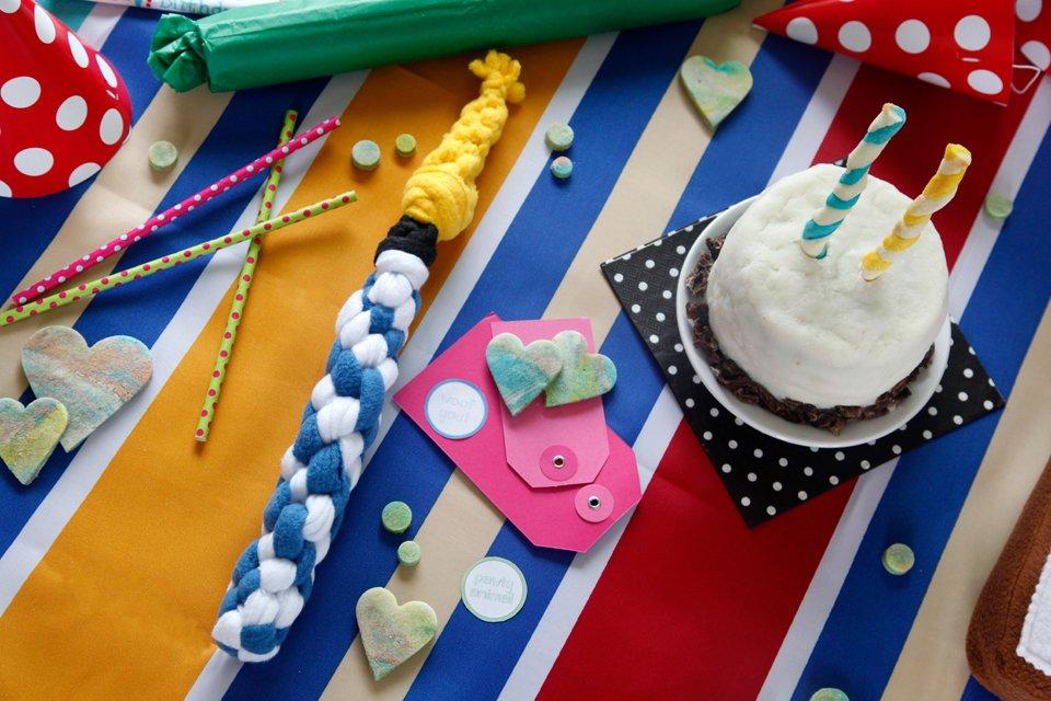 DIY Woven fleece birthday candle dog tug toy