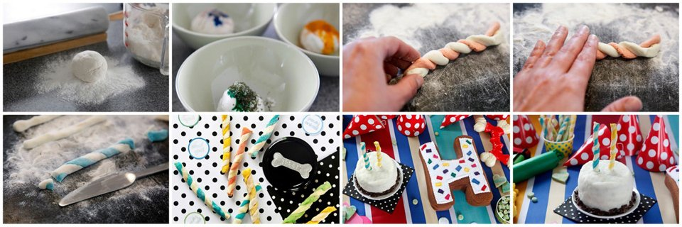Making edible dog treat birthday candles