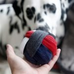 DIY recycled t-shirt hem dog toy ball